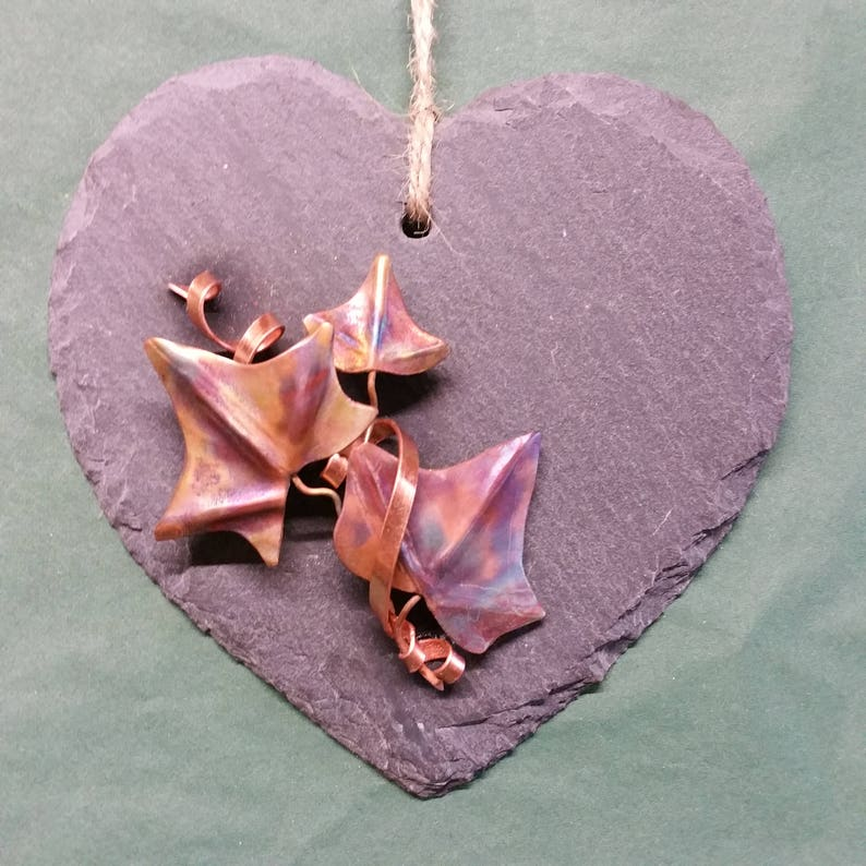 Ivy spray and slate hanging heart mother's day present image 0
