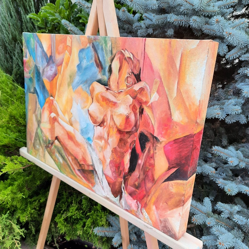 Nude Painting Nudeart woman Body Oil Painting Decoration Art Erotic Wall art Bedroom Fabric canvas Wood frame