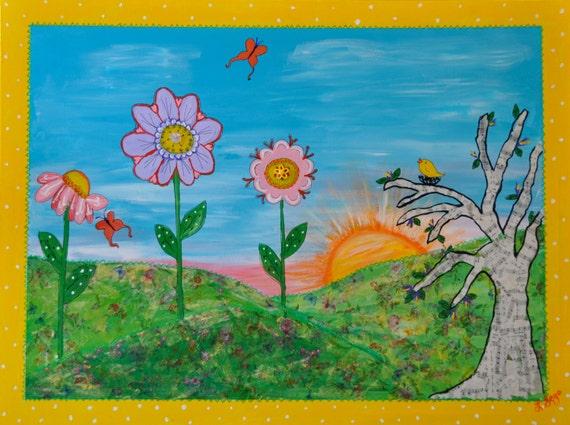 Kinder kunst goedemorgen giclee print meng media origineel etsy