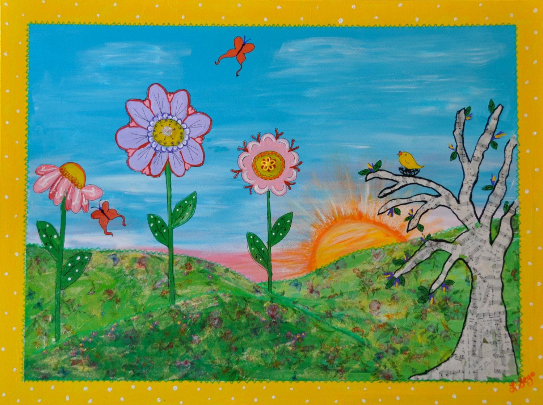 Children S Art Good Morning Giclee Print Mix Media Etsy