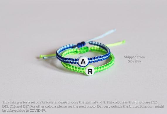 Set of Simple Twin baby bracelets  bracelets for twins  initial letter  personalized bracelet  name bracelet  newborn  boy  girl