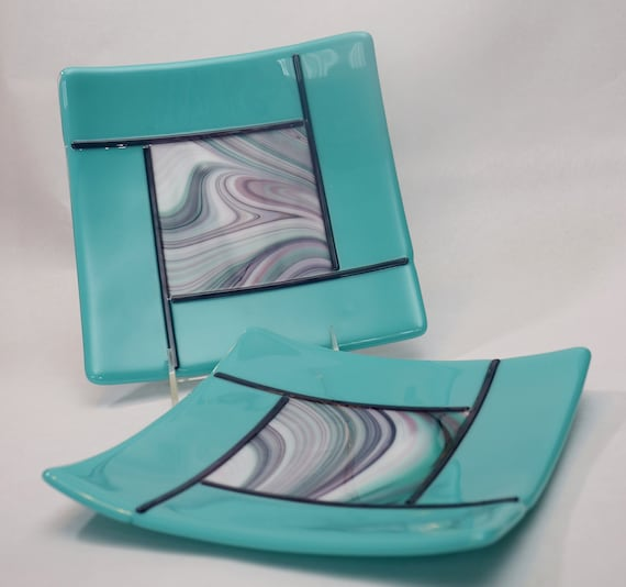 Aqua and Purple Swirl Plates
