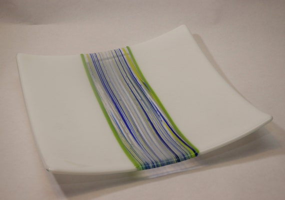 Striped Green Serving Plate
