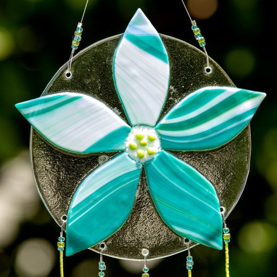 Aqua and White Flower Windchime