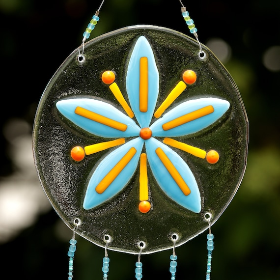 Blue and Orange Flower Windchime