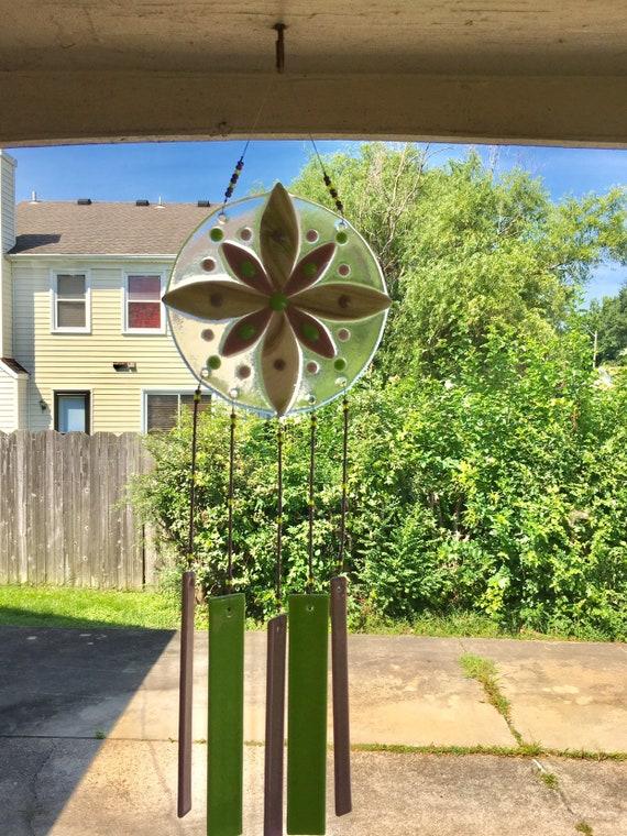 Purple and Green Flower Windchime