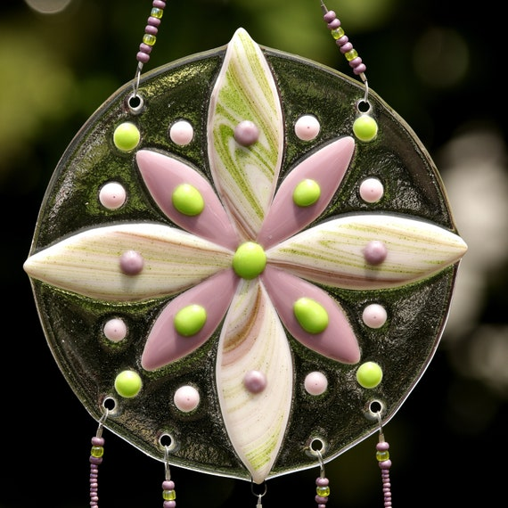 Purple and Green Flower Windchime