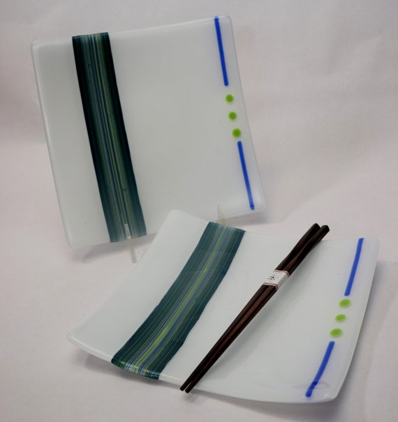 Blue and Green Striped Plates