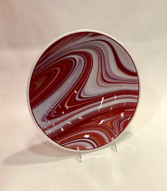 Red and white serving bowl