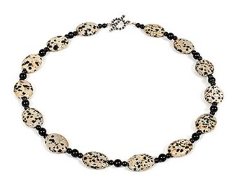 "Perdita - 18"" necklace of dalmation jasper, black onyx and sterling silver"