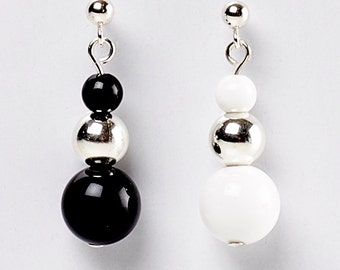 Duet - earrings of black onyx, white agate and sterling silver