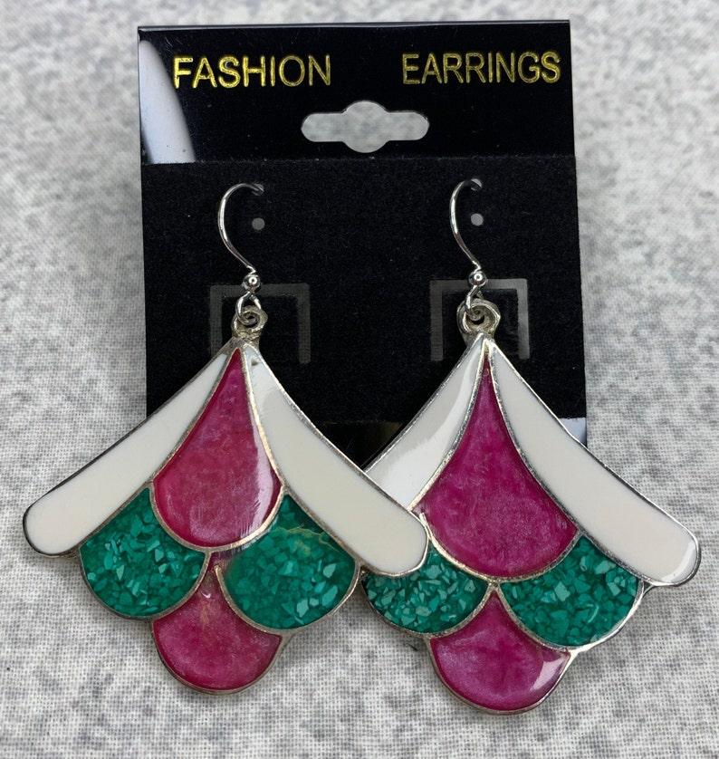 Vintage Fan Earrings Mexico Silver Pierced Earrings Alpaca Mexico Real Silver Geometric Enamel Fan Earrings Enamel Inlay Earrings