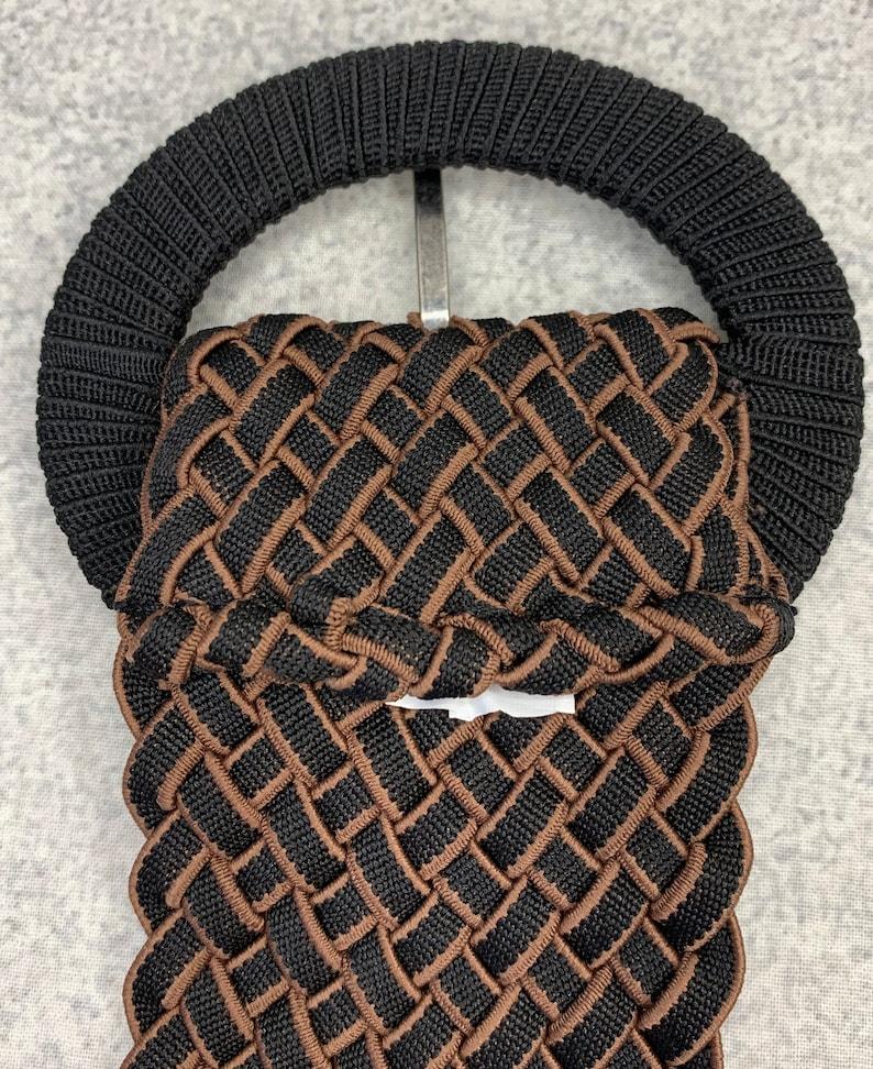 Big Buckle Statement Belt Size Medium Vintage Belt Black Brown Fabric Belt Vintage Stretch Belt Woven Fabric 80s Belt