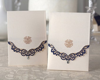 Elegant Pearl Wedding Invitation With Navy Laser Cut Cover