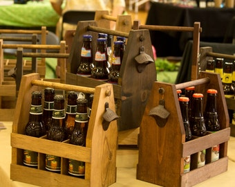 Wooden Beer Tote, Beer Caddy, Beer Carrier, Handmade Beer Tote, Six Pack Carrier, Groomsmen Gift, Gifts for Him