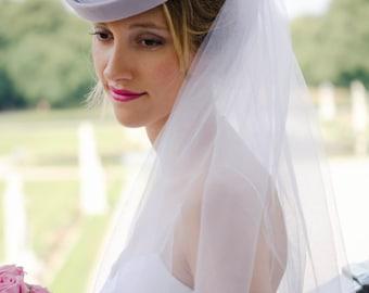 Brauthut   Brautzylinder aus hochwertigem Haarfilz und mit Schleier 144da5d9f7c6