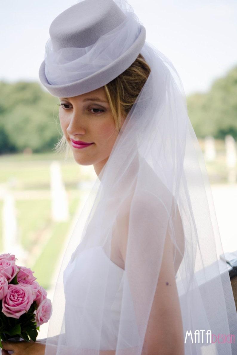 Brauthut / Brautzylinder aus hochwertigem Haarfilz und mit image 0