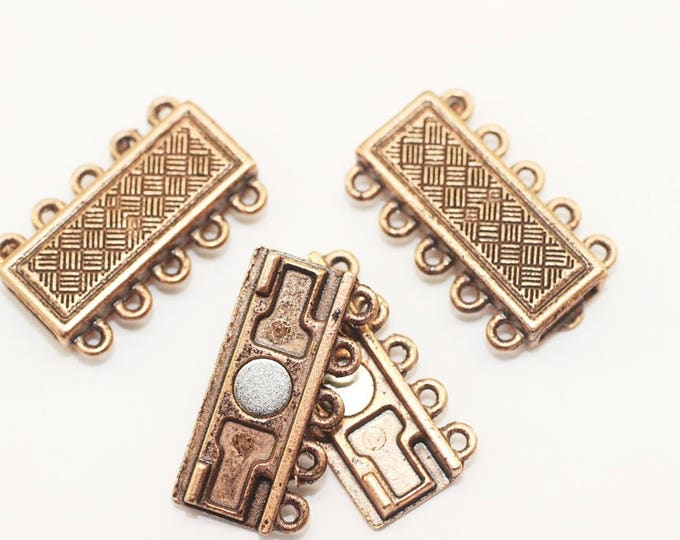 Antique Copper 5 Holes magnetic clasps large clasps Brazil Bracelet Multi Strand clasps 16,5x27mm Magnetic clips MCH5 toggle clasp