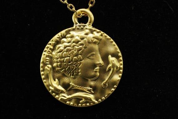 Römische Münze Anhänger 30 X 35 Mm Gold Anhänger Gold Münze Etsy