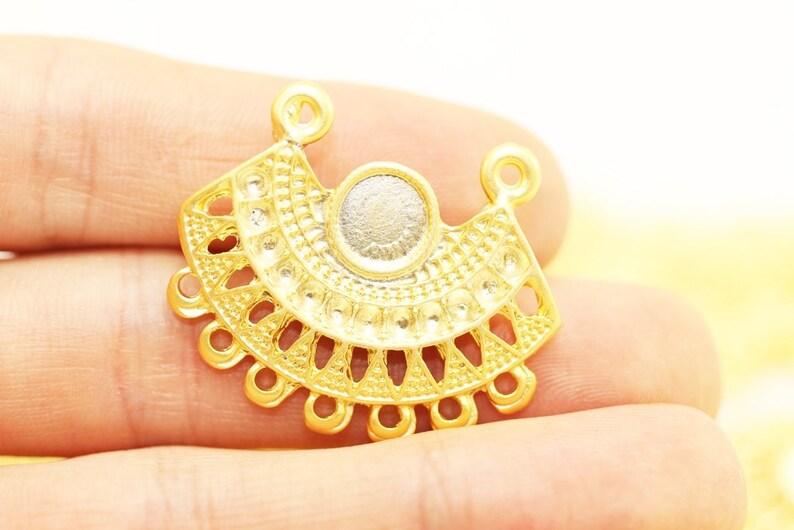 24 K Gold Plated Tribal Pendant  27x33 mm tribal aerring Aztec Pendants Gold plated Tribal charm Tribal pendant wih base