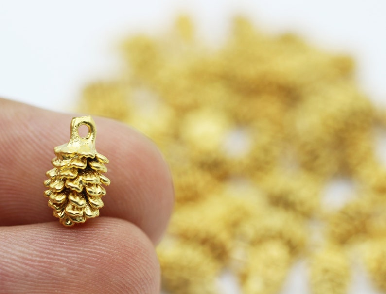 PABC necklace charm Matt Gold plated pinecone charm pinecone jewelry Necklace Jewelry Jewelry Making pinecone pendant gift for her