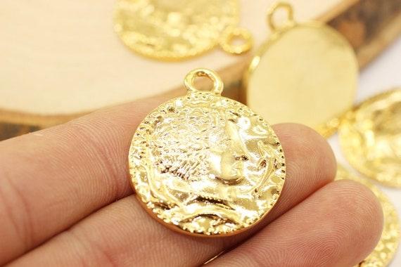 Roman Coin Pendant, 30x35 mm, Shiny Gold Pendant, Gold coin charms, Roman  Pendants, Medallion Pendant, Caesar coins, Gold Coins, CSRC
