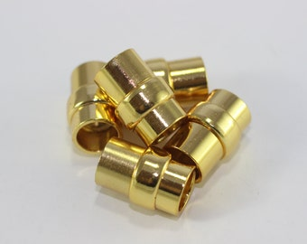 """2 Sets of Gold Tone Round Magnetic Clasp - Solid brass 9 mm 0.34"""" Inner Leather Cord Magnetic Clasp"""