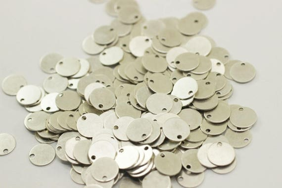 1 x 10 mm Silver Color  Stamping Disc Round  1 Hole  Findings