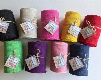 Wreaths Ribbon Sewing Finished Edges Variety of Colors Floral Ribbon 100/% Jute 5.5 in wide 5 yards of Yellow Burlap Spool High Density