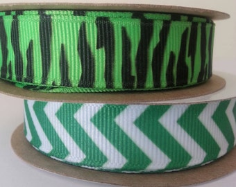 "High Quality 1/"" Leopard Zebra Abstract Printed Grosgrain Ribbon Cheer Hair Bow"