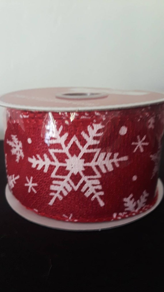Christmas Ribbon.Snowflakes Red And White Wired Fabric Ribbon 1 5 In X 15 Ft Christmas Ribbons Bows Wreaths Gifts Wrap Ribbon Holidays Floral Crafts
