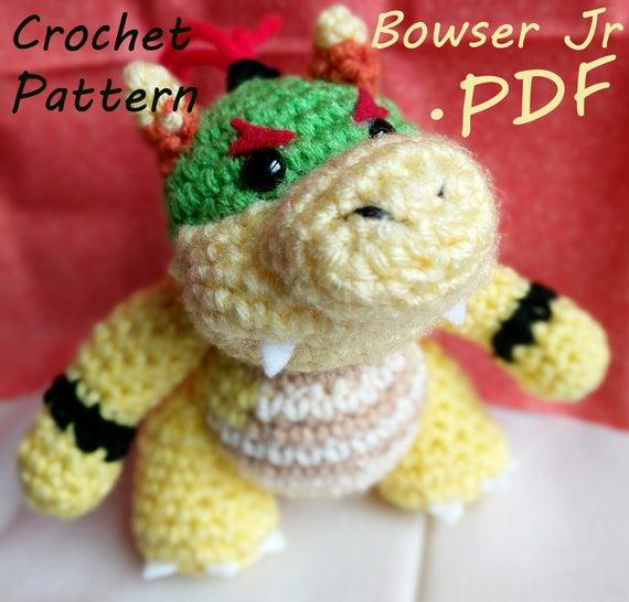 Pdf Crochet Pattern Yoshis Woolly World Baby Bowser Etsy