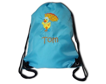 Gym bags with duck and name embroidered laundry bag