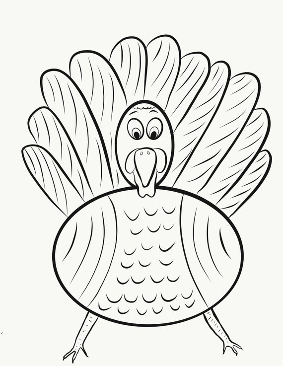 Fat Turkey Coloring Page Printable Artwork PDF and JPG Any