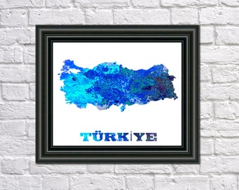 turkey home office turkey map paint splashes art print home office decor country outline romania etsy