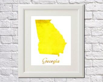 Georgia State Map Georgia Print Georgia Art Georgia State Outline Georgia Home Decor Wall Art