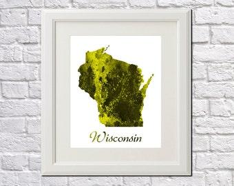 Wisconsin State Map Wisconsin Print Wisconsin Art Wisconsin State Outline Wisconsin Home Decor Wall Art