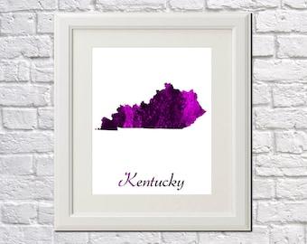 Kentucky State Map Kentucky Print Kentucky Art Kentucky State Outline Kentucky Home Decor Wall Art