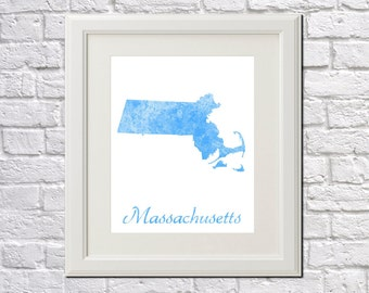 Massachusetts State Map Massachusetts Print Massachusetts Art Massachusetts State Outline Massachusetts Home Decor Wall Art