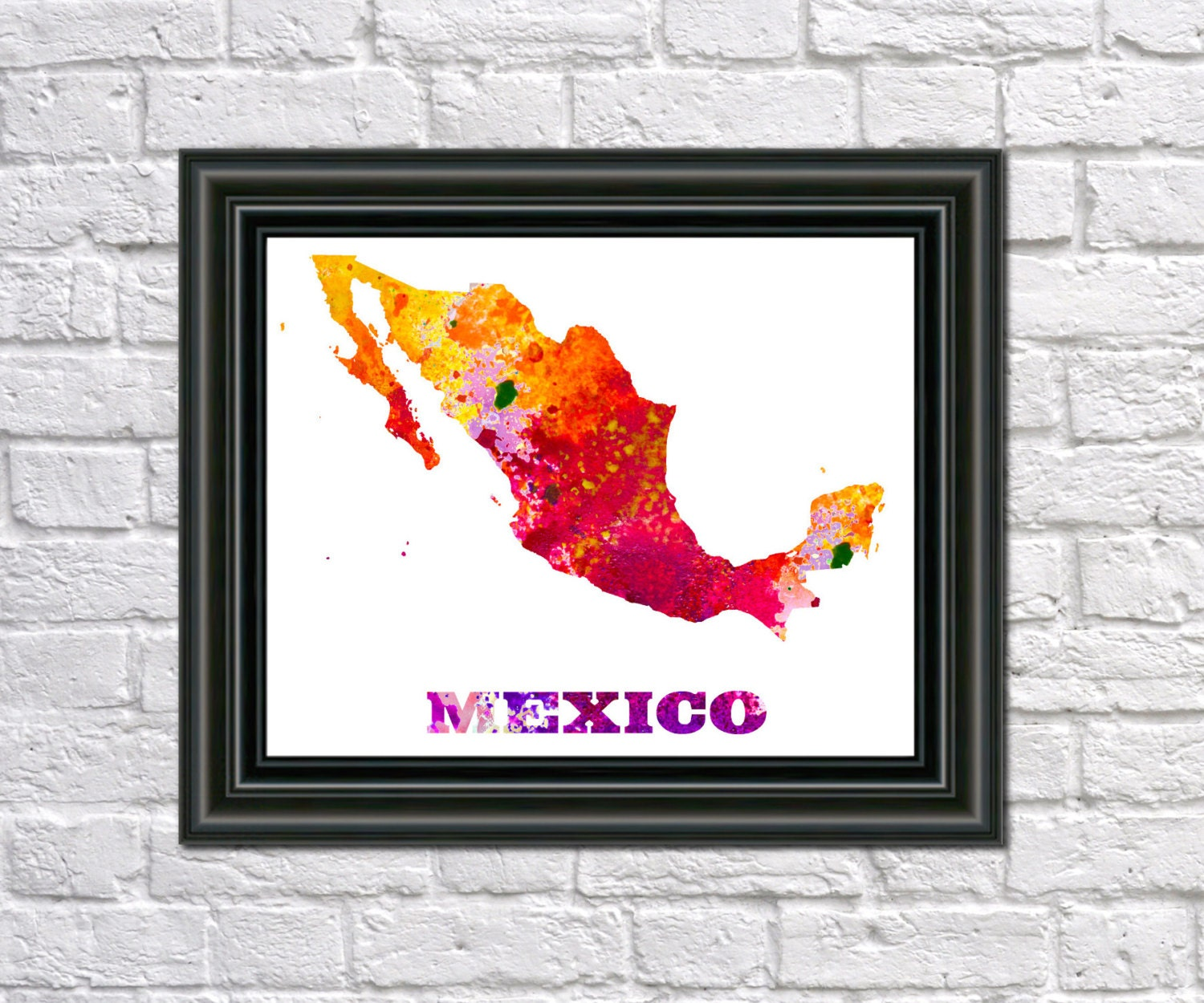 Mexico Map Paint Splashes Mexico Art Print Home Office Mexico | Etsy