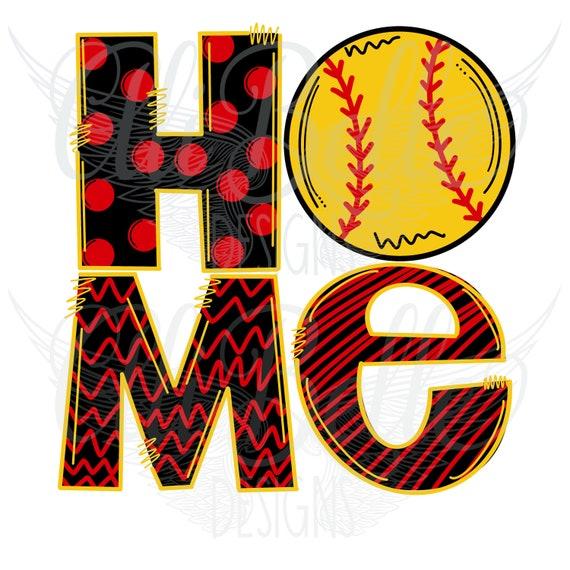 Softball Softball Home Softball Mom Instant Sublimation Design Printable Art Digital Download Doodle Letters Hand Drawn Design Png