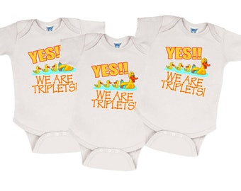 "Triplet Onesies - Set of 3 ""Yes!!  We are Triplets!"" Onesies for Triplets, Triplet Gifts, Clothing for Triplets, Triplet Clothes"