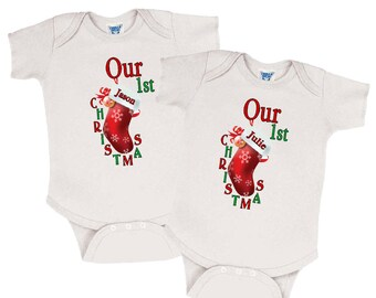 """Twin Onesies - Set of 2 """"Our 1st Christmas"""" Twin Outfits, Twin Christmas Outfits, Twin Christmas Clothes, Twin Christmas Clothing"""