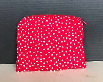 White polkadot with Red background zipper pouch | money bag, cosmetic bag, everything bag, coin purse, glasses bag.