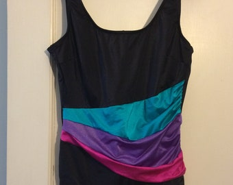 Black Vintage One Piece Swimsuit with Teal, Purple, Pink Accent - Size 14 Large 1990s Ballex Body Brand Swimwear Made in Canada