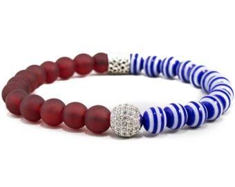 Patriot: 18K Micro Pave CZ Diamonds, Red Glass & Blue/White Striped Ceramic