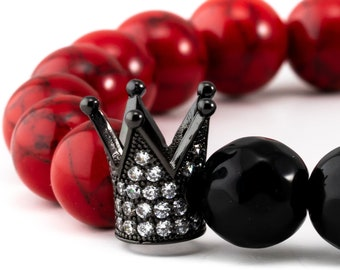 Men's Bracelet, Unisex Bracelet, 10mm Red Synthetic Turquoise Beads, 10mm Black Faceted Obsidian Gemstones