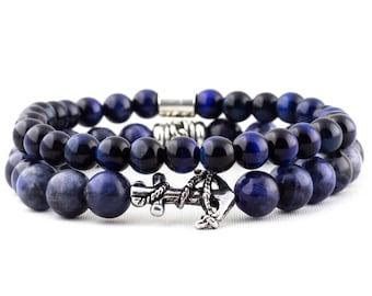 Package: Blue Sodalite Gemstone, Blue Tigers Eye Gemstone & Silver Anchor