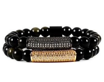 Elegance Package: Black Obsidian Gemstone and 18K Rose Gold & Gunmetal Micro Pave CZ Diamond Cylinder