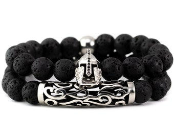 Lava Stone Bracelet, Bracelet Stack, Stainless Steel, Spartan Bracelet, Unisex Bracelet, His and Her, Couples, Elite Wear
